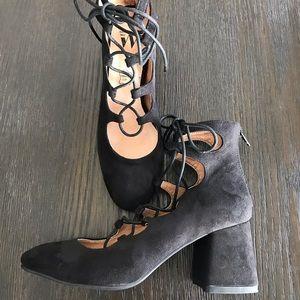 Vanessa Wu Suede Block Heel Lace Up Shoe